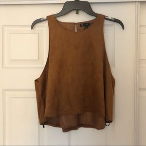 Faux Suede High Neck Tank